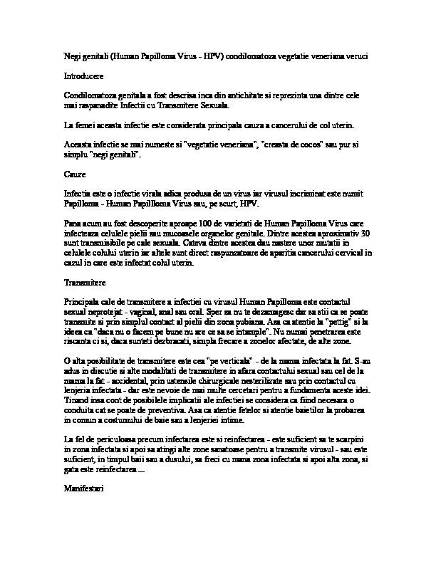 Infectia HPV - Factori de Risc, Teste HPV, Tratament, Vaccin Anti HPV - info-tecuci.ro