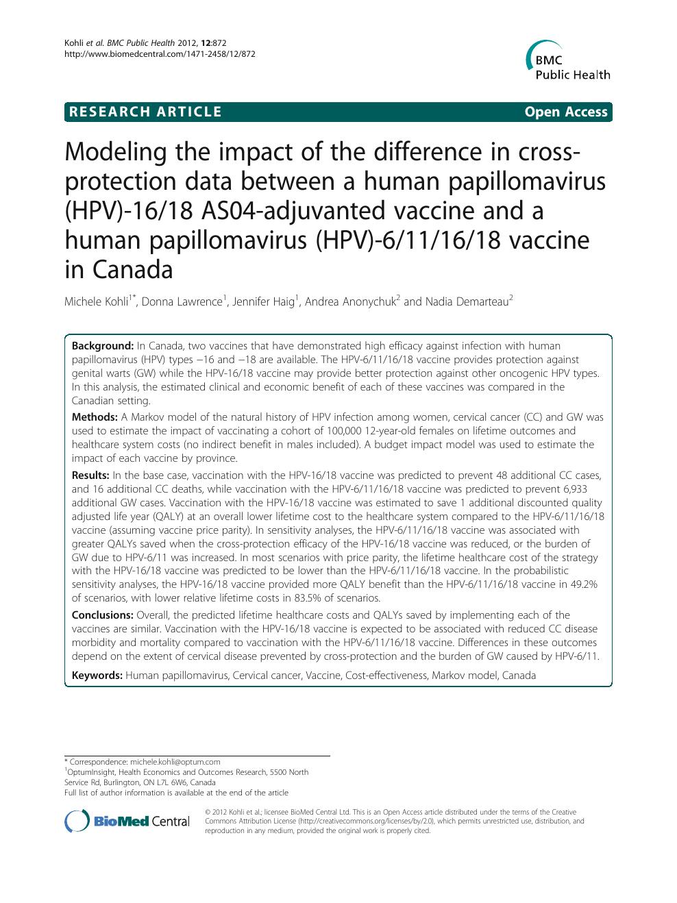 human papillomavirus vaccine monograph)