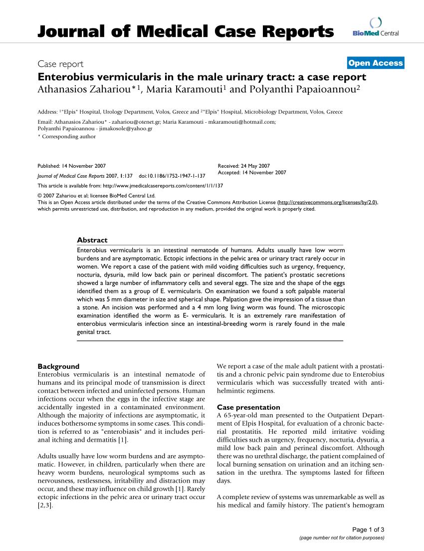 enterobius vermicularis zoonosis cancer bucal durata