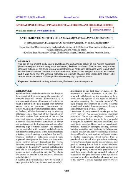 Anthelmintic activity of neem