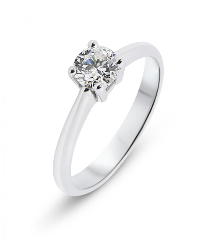 Inel solitar din aur alb cu diamant de 0,65 ct
