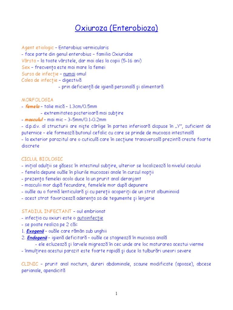 Enterobioză, giardioză, infecție protozoară