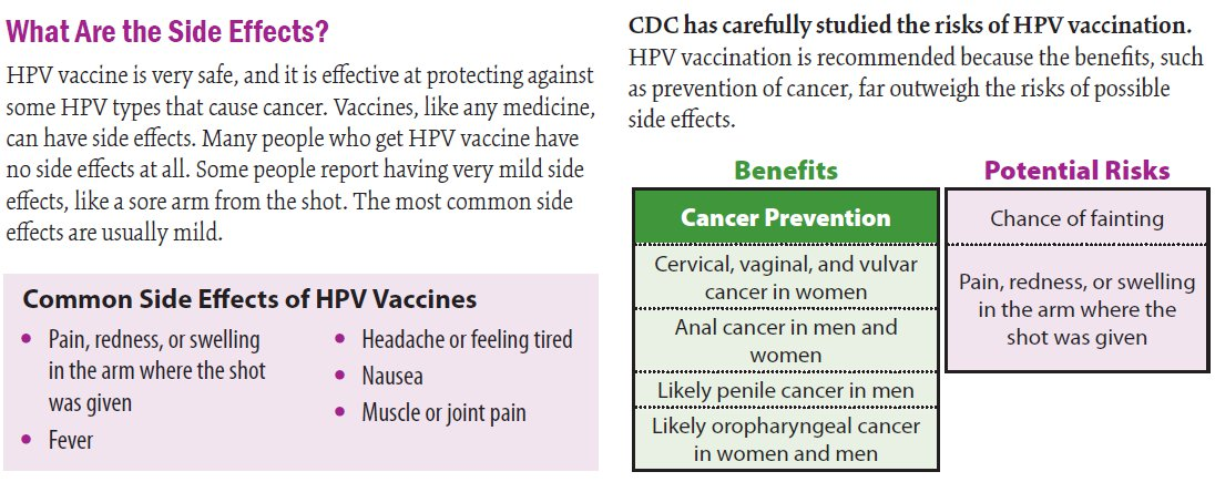hpv vaccine side effects cancer