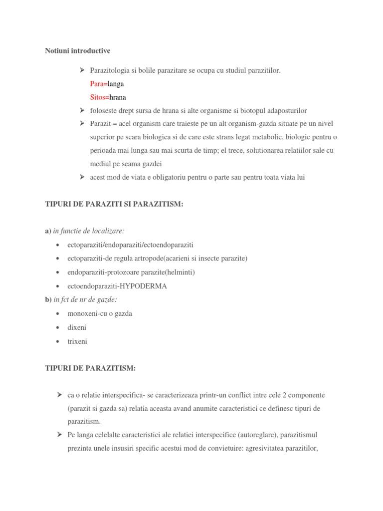 Exemple de endoparaziți, Înțelesul