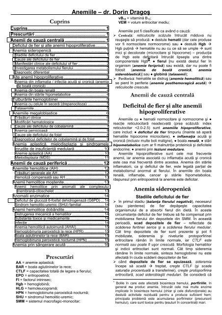 anemie usoara hipocroma