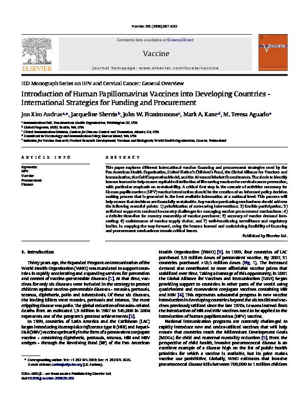 human papillomavirus vaccine monograph