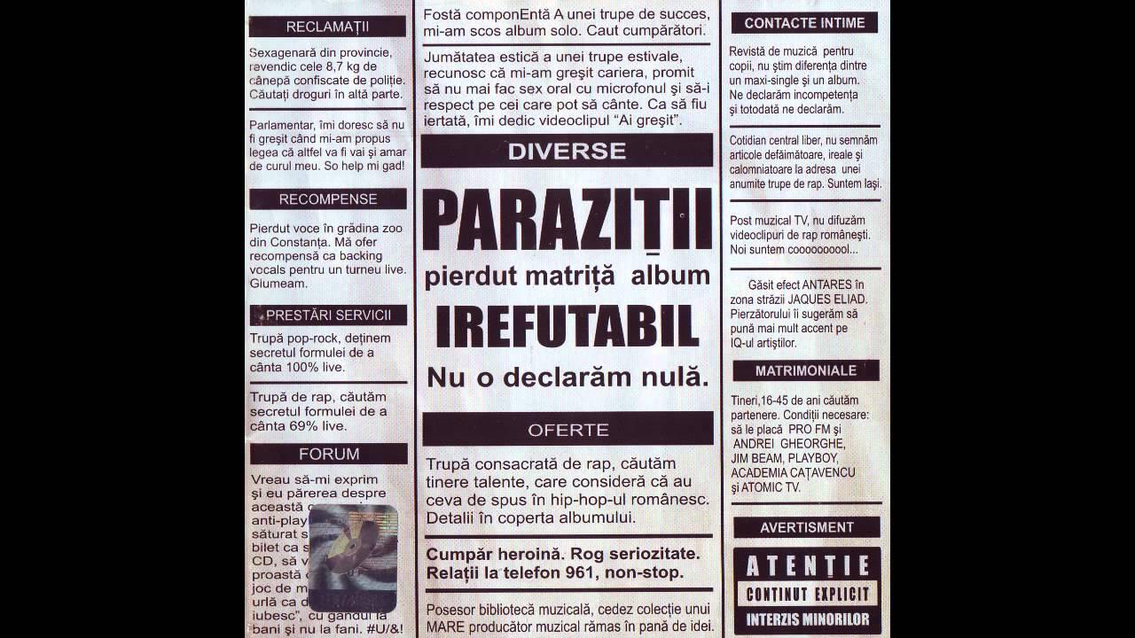 Parazitii - Dulce autodistrugere lyrics
