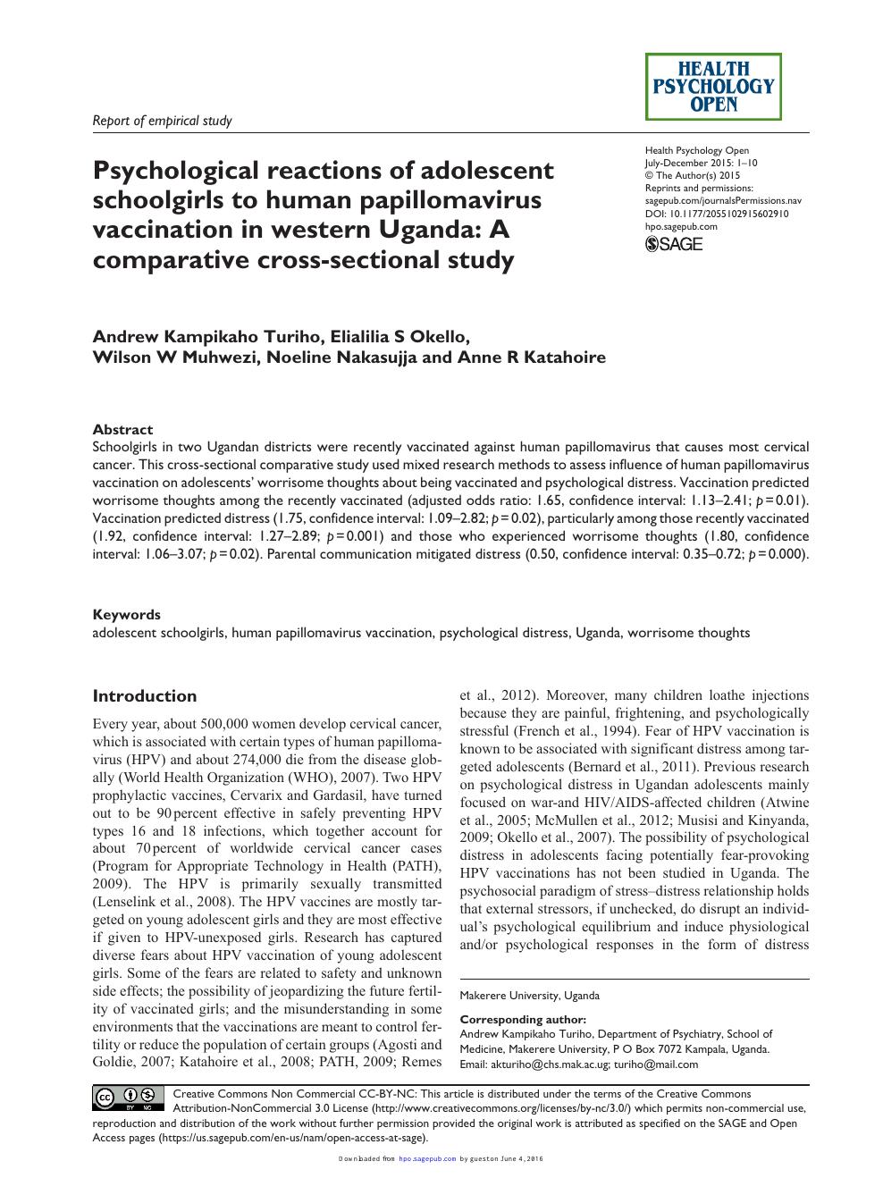 human papillomavirus in uganda)