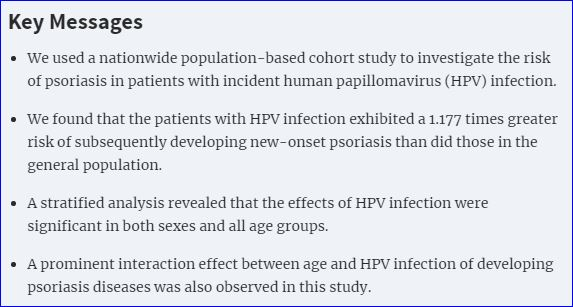 human papillomavirus infection onset)