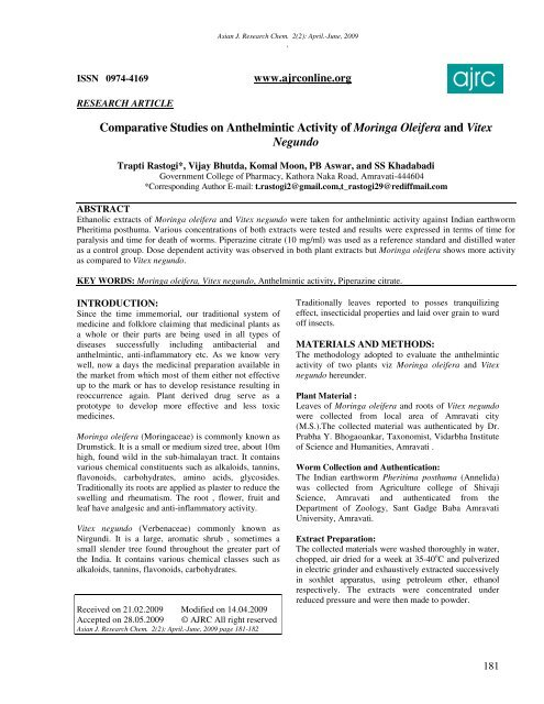 Vol 66, No 1 (), Anthelmintic activity meaning